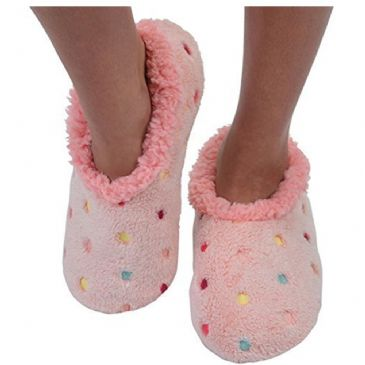 Peach Pink Lotsa Dots Ladies Snoozies Fleece Slippers S/M/L